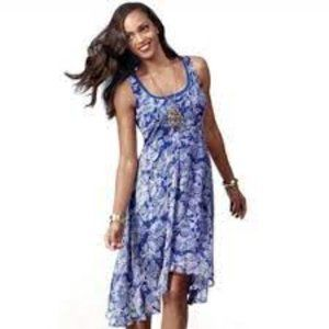 CAbi 851 Blue Willow Double Dress Floral XS